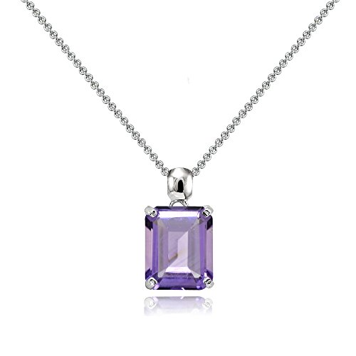 Sterling Silver Genuine, Created or Simulated Gemstone Octagon-Cut Solitaire Pendant Necklace