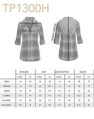 Women's Button Up Long Sleeve Cotton Plaid Flannel Shirt with Hoodie