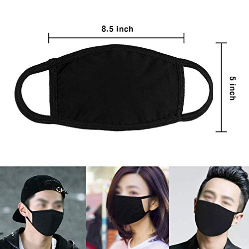 5 Pack Unisex Reusable Mouth Mask,Adjustable Anti Dust Face Mouth Mask,Black Cotton Face Mask for Cycling Camping Travel