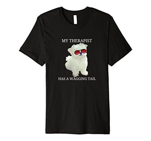 Maltese Dog Funny Tshirt My Therapist Has A Wagging Tail