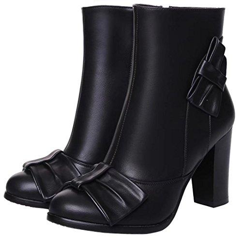 AIYOUMEI Damen Kurzschaft Stiefel mit Schleife und 8cm Absatz Herbst Winter Blockabsatz Stiefeletten Süß Schuhe schwarz(PU)