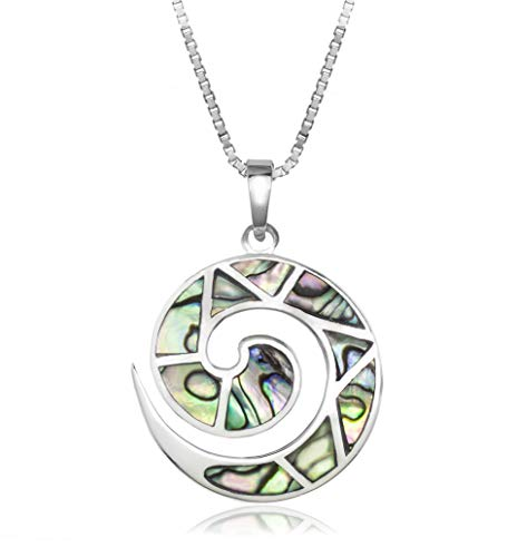 - Honolulu Jewelry Company Sterling Silver Abalone Paua Shell Swirl Necklace Pendant with 18