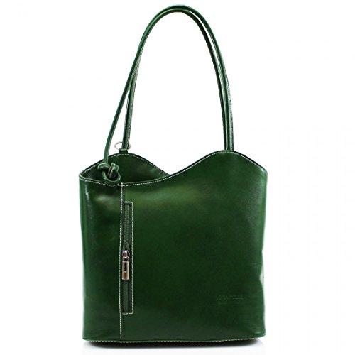 Women Vera Pelle VP024 Genuine Italian Leather Shoulder Convertible Backpack Ladies Handbag Green