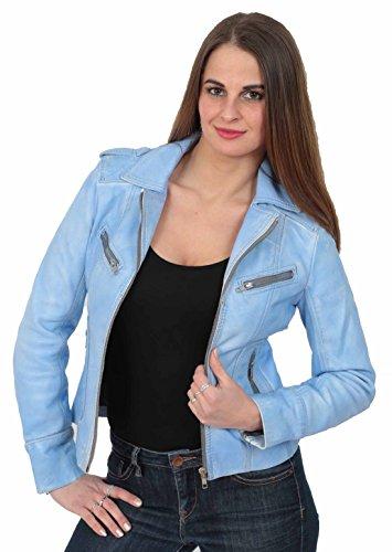 Mujer Biker Blanco Piper Vino cuero Chaqueta Naranja Rojo Negro Mezclilla turquesa de Azul Bronceador 11qZrwU
