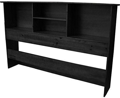 Double Wooden Bookcase (Stockholm Bamboo Solid Bookcase Headboard, Full/Queen-size, Black)