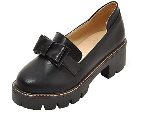 Women's Heels Round Court On PU Pull Solid Black WeenFashion Shoes Kitten Toe RdwfgRqt