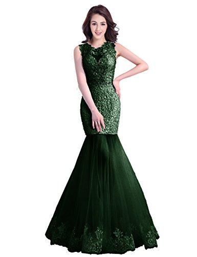 Abendkleider Elegant Spitze Meerjungfrau LuckyShe mit BallKleid Damen Hochzeit für Dunkelgrün Lang FatSBx