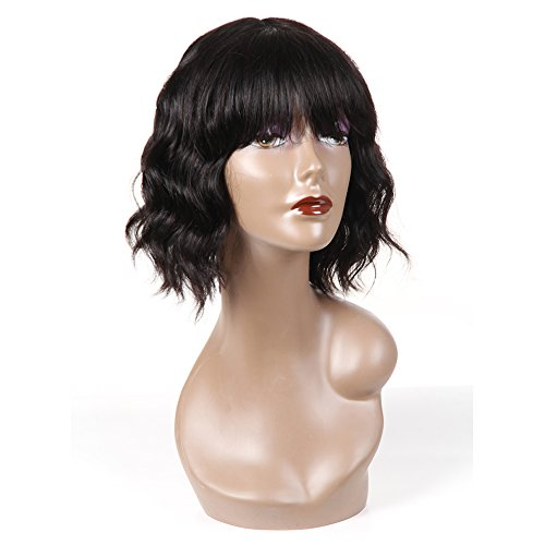 Beauty : PANEWAY Human Hair Body Wave Wigs with Flat Bangs Brazilian Short Wavy Bob Wigs with full bangs Virgin Human Hair Wig for Black Women 130% Density Natural Color (10inch)