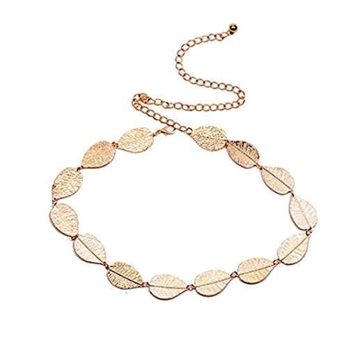 Allywit Women's Lady Fashion Metal Leaves Chain Belt Chain (Gold)
