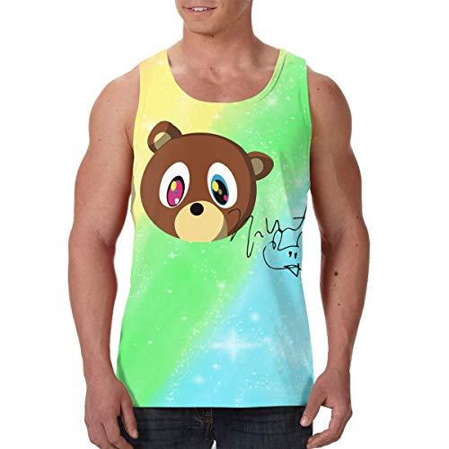 LixuA Mens Kanye West Yeezus Bear The Signature All-Over Print Tank Tops Slim Fit Muscle Shirt Black (Shirt Bear West Kanye)