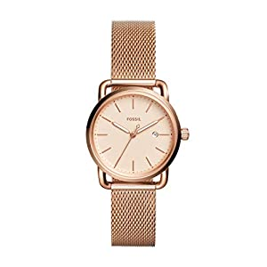 Fossil Women's The Commuter Quartz Stainless Steel Mesh Casual Watch Strap, Rose Gold, 16 (Model: ES4333)