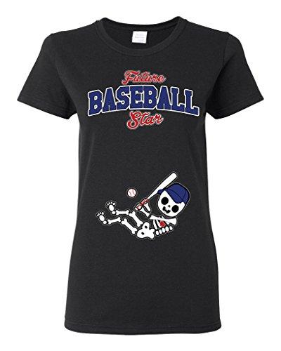Future Baseball Star Texas Baby Fan Sports Ball Ladies DT T-Shirt Tee (XXX-Large, Black) (Texas Ladies Series Player)