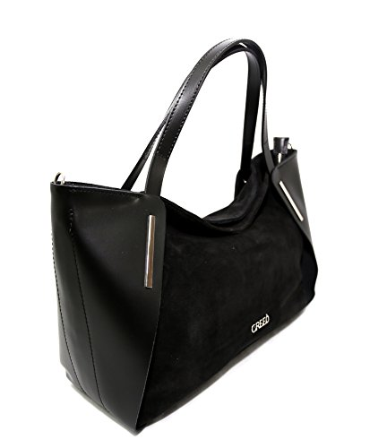 Womens Beige Black Leather in Leather Beige Made Parma Black Parma in Italy Womens Made Handbag Handbag Italy ATwqX88