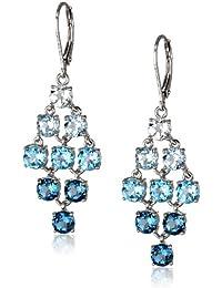 Sterling Silver Genuine Blue and White Topaz Chandelier Earrings