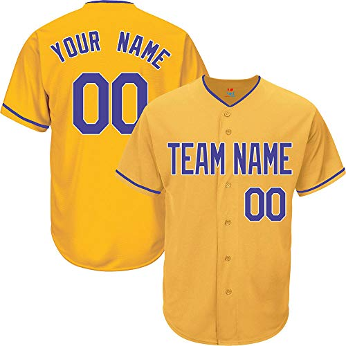 Yellow Custom Baseball Jersey for Men Button Down Embroidered Team Player Name & Numbers,Royal Blue-White Size 2XL