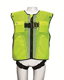 FallTech 7015LXL Hi-Vis Vest Harness, Non-Belted FBH - 1 Back D-Ring, Mating Buckle Legs and Chest, Contractor-Grade Reflective Vest, Lime, Large/X-Large, Lime/Blue