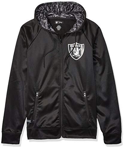NFL Oakland Raiders Men's Full Zip Hoodie, Black, Large