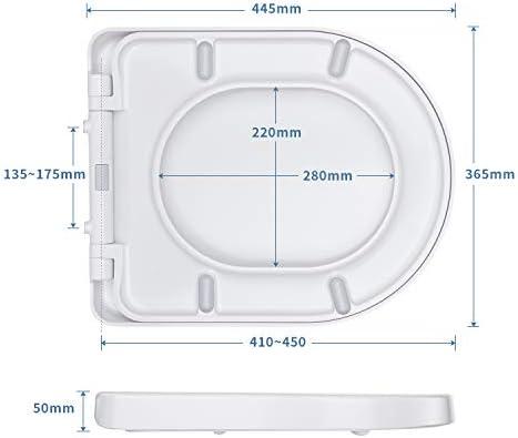 WC Sitz, MUJIUSHI Toilettendeckel D-Form Klodeckel mit Quick-Release-Funktion, Absenkautomatik und Justierbaren Edelstahlscharnier, Antibakterielle Klobrille PP Toilettensitz