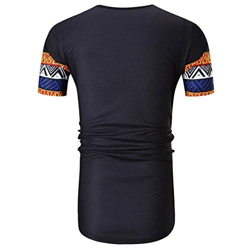 Corta shirt Scollo Manica Camicia Maniche Stampa Per A Etnica Corte T Uomo Alikeey O Da Personalità Africana Estiva Rosso Con PiuTXZwklO