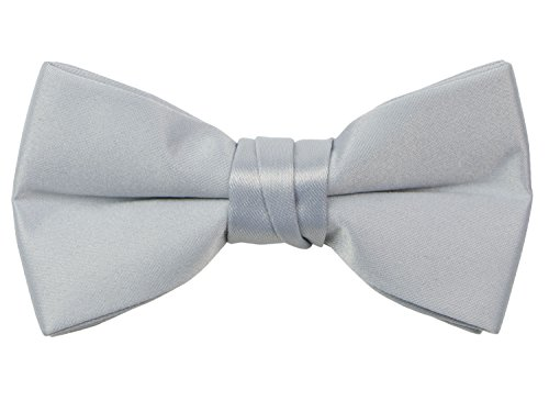 (Spring Notion Boys' Pre-tied Banded Satin Bow Tie with Gift Box Large Silver)