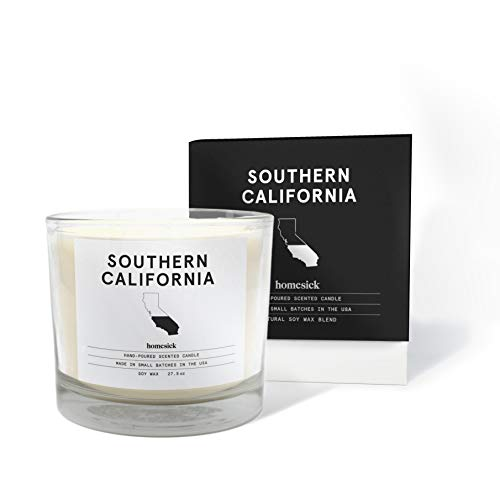 Homesick 3 Wick Scented Candle, Soy Wax - 27.5 oz (90 to 110 hrs Burn Time) SoCal