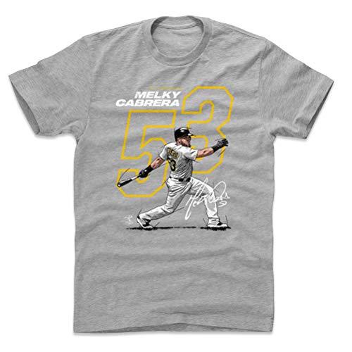 (500 LEVEL Melky Cabrera Cotton Shirt (Large, Heather Gray) - Pittsburgh Baseball Men's Apparel - Melky Cabrera Offset Y WHT)