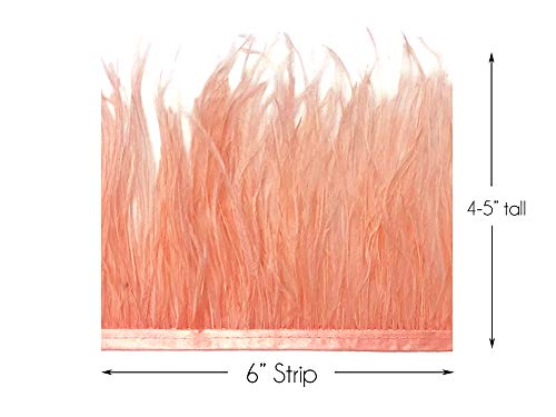 Millinery Trim (6 Inch Strip - Peach Pink Ostrich Fringe Trim Feather Craft Sample DIY Millinery Supply | Moonlight Feather)