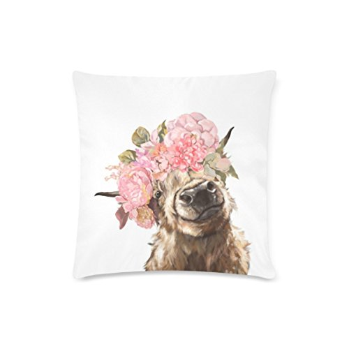 BEAYCUSHIONS Custom Highland Cow With Flower Cushion Cases Zippered Throw Pillow Covers 16 by 16 Inches