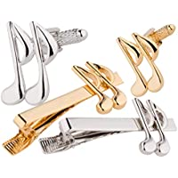 Hei Music Note Cufflinks & Tie Bar Set, Gold and Silver 6 Pieces, Smart Elegant