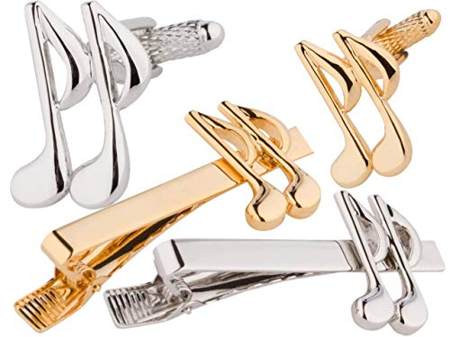 inks & Tie Bar Set, Gold and Silver 6 Pieces, Smart Elegant ()
