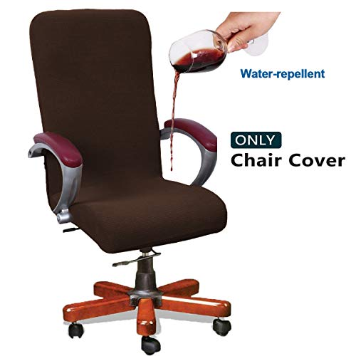 WOMACO Waterproof Office Chair Cover, Jacquard Computer Office Chair Covers Water-Repellent Universal Boss Chair Covers Modern Simplism Style High Back Chair Slipcover (2-Coffee, Large)