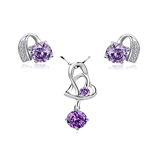 925 Sterling Silver Purple Crystal Pendant Necklace Stud Earrings Set for Women Teen Girls Gift (Costume Design Colleges In India)
