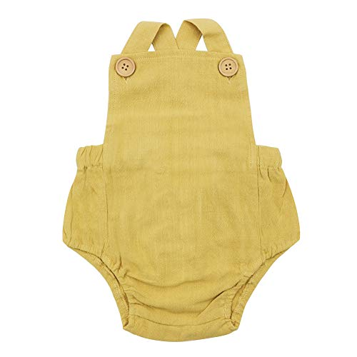 Simplee Kids Baby Romper 0-3 Months Girls Baby Onesies Yellow Unisex Solid Colors -