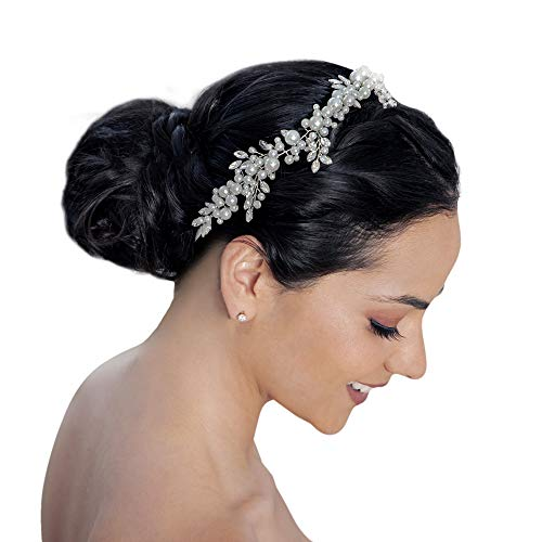 Pearl and Rhinestone Bridal Hair Accessories for Wedding, Engagement, Bridesmaid and Prom - Handmade Jeweled Headband for Brides and Flower Girls - Tiara Crown Headpiece for Women - Olivia Circlet