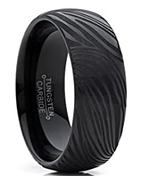 Men's Black Tungsten Carbide Dome Wedding Band Engagement Ring with Damascus Style Texture 8mm 7-15