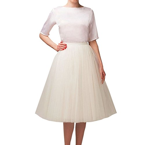 Wedding Planning Women's A Line Short Knee Length Tutu Tulle Prom Party Skirt Large Ivory