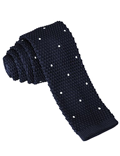 H2H Mens Casual Dot Patterned Knit Neck Tie NAVY US NONE/Asia NONE - Tie Blue Knit