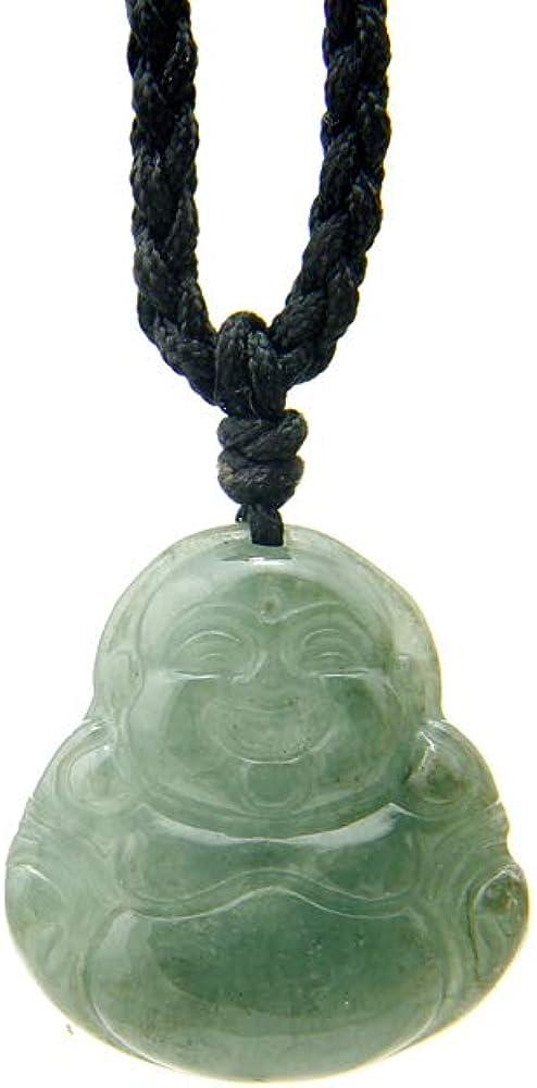 Agathe Creation JCA00318 - Collar de piedras de jade natural (categoría «A»), diseño de Buda que ríe, amuleto de buena suerte, hecho a mano