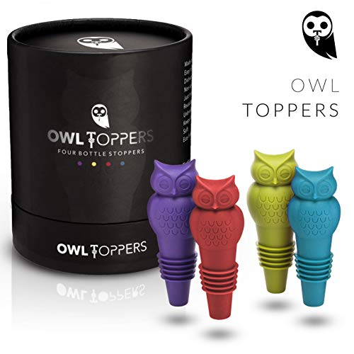 Owltoppers Bottle Stoppers(4 Pack, 2 Sizes) Wine Saver,Champagne Preserver, Decorative Silicone Bottle Cork Set, Unique Wine Lover Gift ()