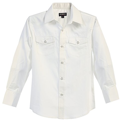 White Western Snap - Gioberti Little Boys Casual Western Solid Long Sleeve Shirt with Pearl Snaps, White, Size 6