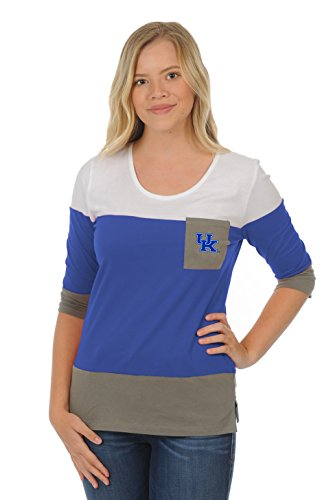 ts Adult Women Colorblock Top, Large, Royal Blue/Grey (Kentucky University Embroidery)