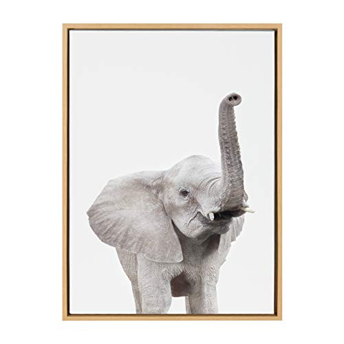 Kate and Laurel Sylvie Elephant with Raised Trunk Animal Print Portrait Framed Canvas Wall Art by Amy Peterson, 23x33 Natural