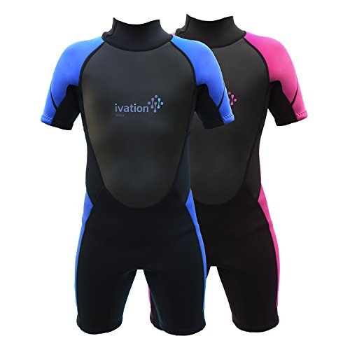 Ivation Kids Wetsuit - 3mm Thickness Premium Neoprene Short Youth Swim Wet Suit – Back Zipper Assist & Full UV Sun Protection
