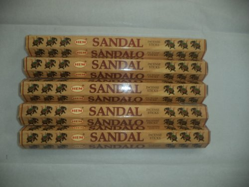 Sandal Incense Sticks - HEM Sandal (Sandalwood) 100 Incense Sticks (5 X 20 Stick Packs)