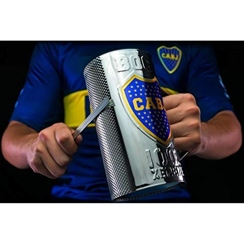 Fernet/Beer Glass Guiro Cup With Holder & Scraper - Stainless Steel Finish - Professional Latin Percussion Instrument - Cuban Guira - Musical Merchandise with Logo BOCA JUNIORS - Gift Cup ()