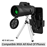 40X60 HD Monocular Telescope with Phone Clip&Tripod, High Power Night Vision Zoom Monocular Scope with Waterproof BAK4 Prism Lens for Adults Bird Watching Concert Fishing Hunting