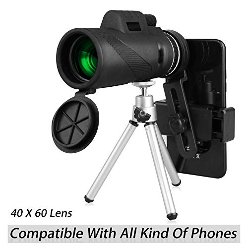 40X60 HD Monocular Telescope with Phone Clip&Tripod, High Power Zoom Monocular Scope with Waterproof BAK4 Prism Lens for Adults Bird Watching Concert Fishing Hunting
