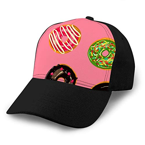 Baseball Cap Hats Glazed Donuts Bakery Top View Doughnuts Into Color Caramel and