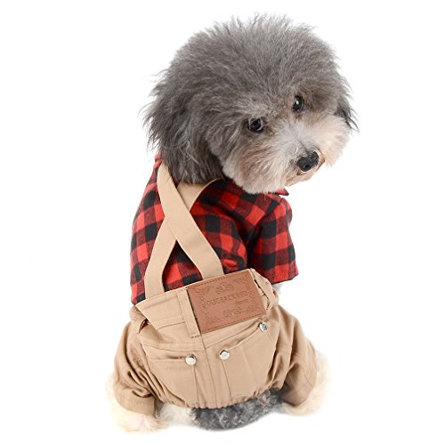 Ranphy Pet Clothes for Small Dogs Male Red Plaid Shirt Khaki Overall Pant Cat Jumpsuit Summer Soft Doggy Tracksuit Outfits Coat British Cute Puppy Costume,Pet Supplies Size -