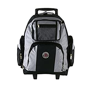 "TW 18"" Rolling Back Pack on Wheels With Retractable Handle Gray"
